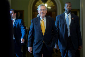 Senate Majority Leader Mitch McConnell, a Republican from Kentucky, walks to his office after a news conference after a Republican Senate luncheon at the U.S. Capitol in Washington, D.C., U.S., on Tuesday, July 28, 2015.