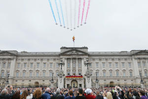 The Red Arrows perform a flypast during the Trooping The Colour parade at Buckingham Palace, in London.
