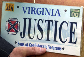 This Thursday May 2, 2002 file photo shows a sample of the Sons of Confederate Veterans specialty Virginia state license plate in Richmond, Va.