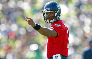 Seattle Seahawks quarterback Russell Wilson during training camp practice at Virginia Mason Athletic Center on July 31, 2015 in Renton, Wash.