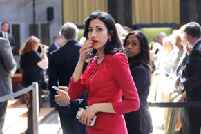 Huma Abedin, an aide to Hillary Rodham Clinton, attends the David N. Dinkins Leadership and Public Policy Forum, Wednesday, April 29, 2015 in New York.