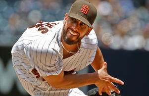 San Diego Padres starting pitcher James Shields delivers a pitch to the San Francisco Giants in the first inning of a baseball game Wednesday, July 22, 2015, in San Diego.