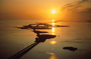 Bridge connecting islands at sunset, Seven Mile Bridge, Florida Keys, Florida.