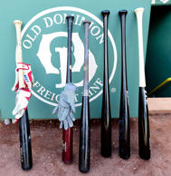 Apr 28, 2015; Boston, MA, USA; Baseball bats of the Toronto Blue Jays are lined up along the wall prior to a game against the Boston Red Sox at Fenway Park.