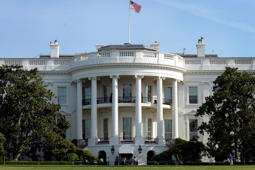 The White House, seen from the South Lawn in Washington, gives the media a preview of the White House gardens and grounds on Saturday, April 21, 2012, prior to the official opening of the Garden Tours to the public.