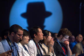 Attendees listen to a keynote address during the Black Hat USA 2014 hacker conference.