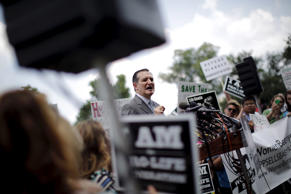 "Republican presidential candidate Senator Ted Cruz, R-Texas, speaks at the ""Women Betrayed Rally to Defund Planned Parenthood"" at Capitol Hill in Washington on July 28."