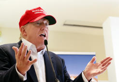 In this July 30, 2015 file photo, Republican presidential candidate Donald Trump speaks to the media during a news conference on the first day of the Women's British Open golf championship on the Turnberry golf course in Turnberry, Scotland.