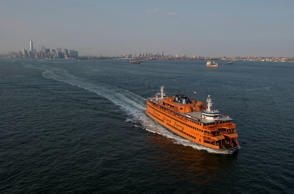 The Staten Island Ferry moves across the Upper Bay in this aerial photograph taken above New York.