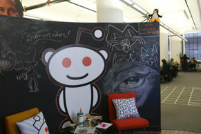 In this file photo, a Reddit mascot is shown at the company's headquarters in San Francisco.