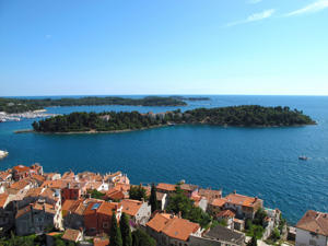 View of the coastline and the numerous islands in front of the Rovinj, Istria, Croatia.