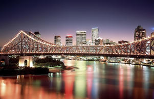 Story bridge and the Brisbane city skyline by night