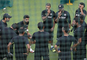 India's cricket captain Virat Kohli (2nd L) stretches next to teammates during a practice session ahead of their test cricket series against Sri Lanka, in Colombo August 4, 2015. India will play three test cricket matches with Sri Lanka starting from August 12.