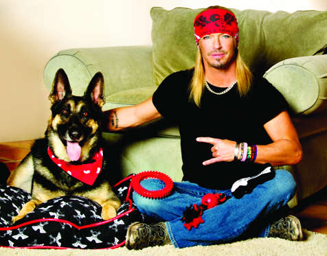 Bret Michaels with his 'Pets Rock' dog accessories line