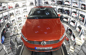 A VW Golf is pictured inside the cat towers of car manufacturer Volkswagen AG at...