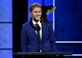 A monkey rests on Justin Bieber's shoulder as he speaks at the Comedy Central Roast of Justin Bieber at Sony Pictures Studios on Saturday, March 14, 2015, in Culver City, Calif.