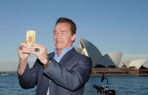 SYDNEY, AUSTRALIA - JUNE 04:  Arnold Schwarzenegger takes a selfie during a 'Terminator Genisys' photo call at the Park Hyatt Sydney on June 4, 2015 in Sydney, Australia.