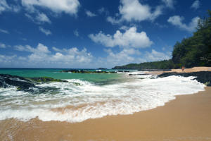 View of Kauapea Beach, popularly known as Secret Beach, Kauai, Hawaii.