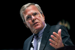 <p>Republican candidate Jeb Bush gestures during a speech in Atlanta on Aug. 8.</p>