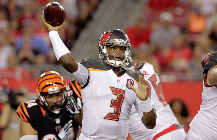 Tampa Bay Buccaneers quarterback Jameis Winston throws a complete pass during a preseason game against the Cincinnati Bengals on Aug. 24, 2015, at Raymond James Stadium in Tampa, Fla.