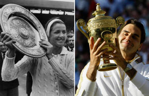 8th July 1963: Margaret Smith the Ladies Wimbledon Champion for 1963 displaying her trophy. She beat Billie Jean Moffitt (Billie Jean King) in straight sets. (Photo by Keystone/Getty Images)  Roger Federer of Switzerland holds his trophy after defeating Andy Roddick of the U.S. in their Gentlemen's Singles finals match at the Wimbledon tennis championships in London, July 5, 2009. REUTERS/Stefan Wermuth (BRITAIN SPORT TENNIS)