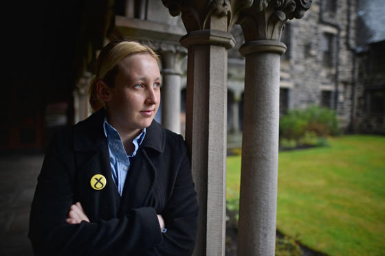 Slide 2 of 25: PAISLEY, SCOTLAND - APRIL 29:  Mhairi Black, the twenty year old SNP candidate is the youngest person standing in the General Election she is going head to head with Labours Douglas Alexander in Paisley and Renfrewshire South on April 29, 2015 in Paisley, Scotland. According to recent polls she there is a strong possibility that she is about to take the seat from Douglas Alexander in what should be one of Labours safest constituencies.  (Photo by Jeff J Mitchell/Getty Images)