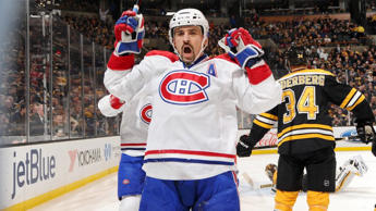 BOSTON, MA - NOVEMBER 22 : Tomas Plekanec #14 of the Montreal Canadiens celebrates a goal against the Boston Bruins at the TD Garden on November 22, 2014 in Boston, Massachusetts. (Photo by Steve Babineau/NHLI via Getty Images)