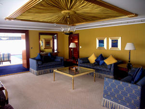 One of the many sitting areas in the three-bedroom suite of Burj Al Arab.