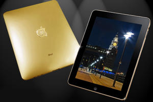 A 22 carat gold plated Apple iPad encrusted with 53 diamonds. Burj Al Arab Jumeirah offers every guest a 24-carat gold iPad for use during their stay.