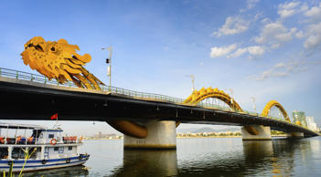 The Dragon bridge, which crosses Han river, in Vietnam.