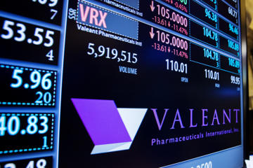A board shows the name of Valeant Pharmaceuticals above the floor of the New York Stock Exchange shortly after the opening of the markets in New York October 22, 2015.