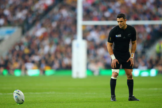 Slide 1 of 19: Dan Carter of the New Zealand All Blacks lines up a penalty during the 2015 Rugby World Cup Final match between New Zealand and Australia at Twickenham Stadium on October 31, 2015 in London, United Kingdom.