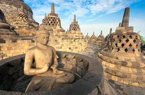 "<p><strong>Where: </strong>Java, Indonesia</p><p>The incredible <a href=""http://www.fodors.com/news/photos/15-most-breathtaking-world-heritage-sites#!6-borobudur-temple-compounds"">Borobudur temple</a> rises up over Java, the largest island in <a href=""http://www.fodors.com/world/asia/indonesia/"">Indonesia</a>. It takes the form of a stepped pyramid, and each ascending level represents a stage of enlightenment. Toward the bottom, intricately carved bas-reliefs depict the Buddhist sutras. The higher terraces feature statues of Buddha inside bell shaped stupas. Built between 750 and 842 A.D. by the Sailendra Dynasty, Borobudur represents the melding of Indian art forms and traditional Indonesian terraced sanctuaries, as well as the interplay of Hinduism and Buddhism.</p><p><strong>Insider Tip:</strong> If you can get up early enough, sunrise is the most serene and magical time of day to visit Borobudur.</p><p><strong>Plan Your Trip:</strong> Visit <a href=""http://www.fodors.com/world/asia/indonesia/"">Fodor's Indonesia Guide</a></p>"