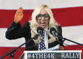 Singer Lady Gaga speaks at a rally in Portland, Maine, September 20, 2010 urging...