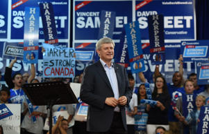 Conservative Leader Stephen Harper makes a campaign stop in Hamilton, Ontario on Thursday, Aug. 27, 2015.