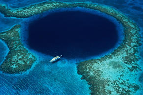 The Great Blue Hole in Belize.