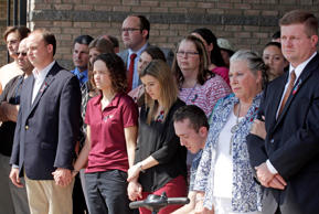 WDBJ employees attend a press conference about the two journalists that were killed on August 27, 2015 in Roanoke, Virginia. Two employees of WDBJ TV were killed during a live broadcast at Bridgewater Plaza on Smith Mountain Lake on August 26. The victims have been identified as reporter Alison Parker and camerman Adam Ward. Parker, 24 and Ward, 27, worked for WDBJ in Roanoke, Virginia. The suspect, Vester Lee Flanigan, also known as Bryce Williams, died of a self-inflicted gunshot wound.