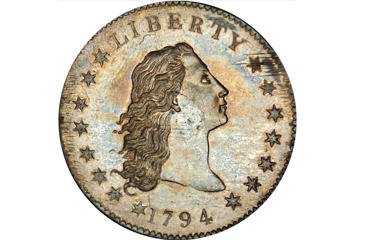 The 1794 Flowing Hair silver dollar.