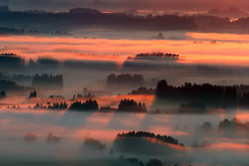 Morning fog is illuminated by the rising sun in the alpine upland near Bernbeuren, Germany, Saturday, August 22.