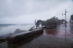Strong winds and waves batter the coast as tropical storm Erika approaches Santo...