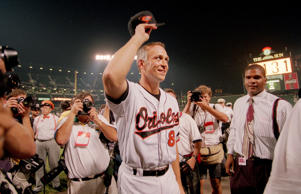 Baltimore Orioles Cal Ripken Jr. on field after breaking Lou Gehrig's 2130 game record during game against the Angels Sept. 6, 1995.