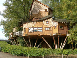 Restaurant Tree House in the grounds of Alnwick Gardens, Northumberland, England...