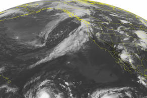 This NOAA satellite image taken Friday, Aug. 28, 2015, at 1:00 a.m. EDT shows Hurricane Ignacio in the central Pacific, packing maximum sustained winds of 90 miles per hour and moving northwest towards Hawaii. To the east is Tropical Storm Jimena with maximum sustained winds of 70 miles per hour.