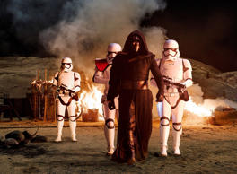 Star Wars: The Force Awakens..Kylo Ren (Adam Driver) with Stormtroopers..Ph: David James..?Lucasfilm 2015