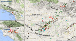 Setting of the La Habra quake. Red dots show the magnitude 5.1 main shock, magnitude 4.1 aftershock and magnitude 5.4 Chino quake in 2008. Relocated aftershocks are green dots. Modeled faults are in brown, with the heavier reddish brown line denoting the bottom of the fault and labeled with italics. Courtesy of NASA/JPL-CaltechSetting of the La Habra quake. Red dots show the magnitude 5.1 main shock, magnitude 4.1 aftershock and magnitude 5.4 Chino quake in 2008. Relocated aftershocks are green dots. Modeled faults are in brown, with the heavier reddish brown line denoting the bottom of the fault and labeled with italics.