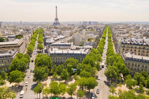 View from Arc de Triomphe of Paris Skyline
