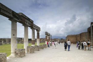 Italy, Campania, Pompeii, View of the Forum