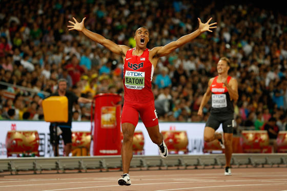 BEIJING, CHINA - AUGUST 28: Ashton Eaton of the United States crosses the finish line to win his Men's Decathlon 400 metres heat to lead the overall Decathlon during day seven of the 15th IAAF World Athletics Championships Beijing 2015 at Beijing National Stadium on August 28, 2015 in Beijing, China.