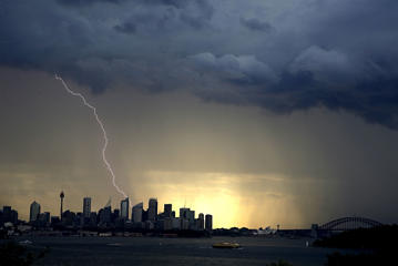A storm over the city as seen from Nielsen Point in Sydney, New South Wales 20th Oct