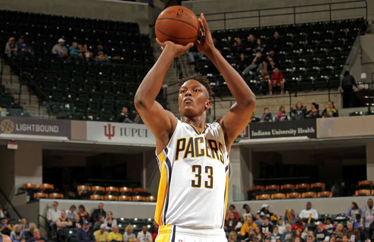 Myles Turner of the Indiana Pacers shoots a free throw against the New Orleans Pelicans during a preseason game on October 3, 2015 at Bankers Life Fieldhouse in Indianapolis.